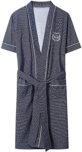 Pijama Albornoz de kimono ligero, vestido de aderezo de manga corta de algodón, con bolsillos Bellas de verano. Traje de encaje (Color : H, Size : M)