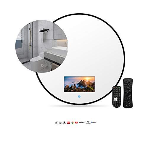 Smart Touch Mirror TV IP66 TV impermeabile per bagno, hotel con telecomando, supporto Internet, on-demand online, trasmissione dal vivo, può giocare, con WIFI, supporto Bluetooth,40*40cm-black