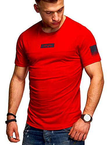 JACK & JONES Herren T-Shirt O-Neck Print Shirt (L, Tango Red)