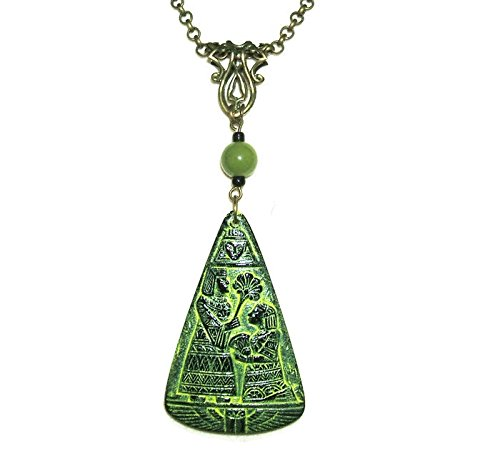 EGYPTIAN REVIVAL Necklace Pressed Max 67% OFF CZECH A GLASS security FIGURALS Pendant