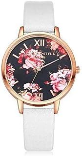 Wristband P086Leather Strap Flower Dial Quartz Wrist Watch,Colour Name:Sky Blue+rose Gold (Color : White+rose Gold)