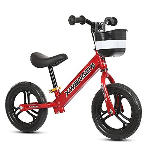 Bicicleta de equilibrio para niños, bicicleta de entrenamiento de niños pequeños de 12 pulgadas para bebé, ligero ajustable sin pedal de bicicleta durante 2 3 4 5 años de edad, niños y niñas,Rojo