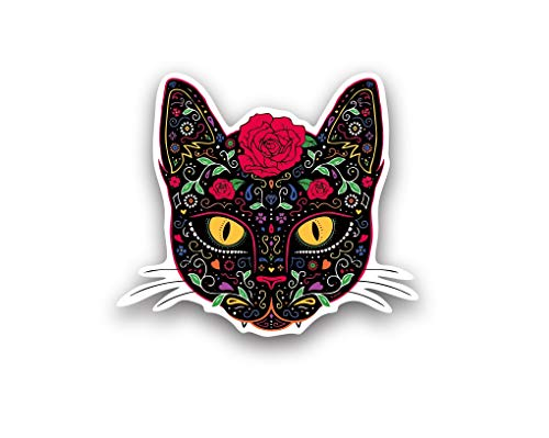 A&B Traders Sugar Skull Cat Stickers for Car - Vinyl Stickers for Water Bottles - Cat Car Color Stickers for Women - Horror Decor Cat Car Decal Cat Water Bottle Stickers