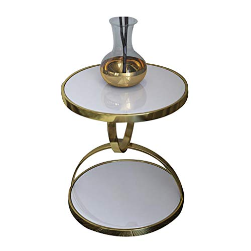 ZHAORU Round End Table Tempered Glass Side Table with Metal Frame, Small Coffee Table for Living Room, Balcony, Robust and Stable