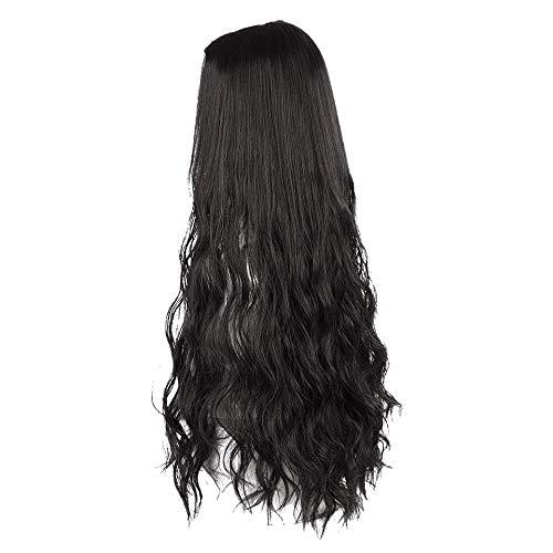 TOOGOO Longue OnduléE BoucléS Demi-Perruque en Forme U pour les Femmes Naturelles Femmes Longues Perruques RéSistant une la Chaleur SynthéTique Fausse Extension de Cheveux Perruque Noire