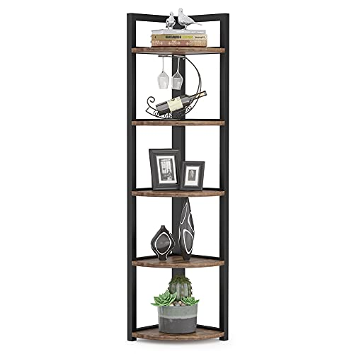 Tribesigns 5 Tier Corner Shelf, Rustic Corner Storage Rack Plant Stand Small Bookshelf for Living Room, Home Office, Kitchen, Small Space (Brown)