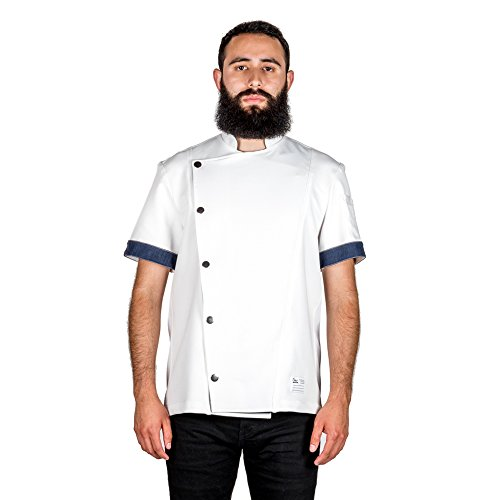 Crew Apparel Men's Chef Coat The Hipster Made in America … (Medium, White)