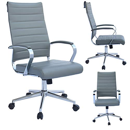 2xhome Contemporary Mid Century Modern High Back Tall Ribbed PU Leather Swivel Tilt Adjustable Chair with Back Swivel Wheels Designer Boss Executive Office Conference Room Work Tasl Desk Chrome Grey