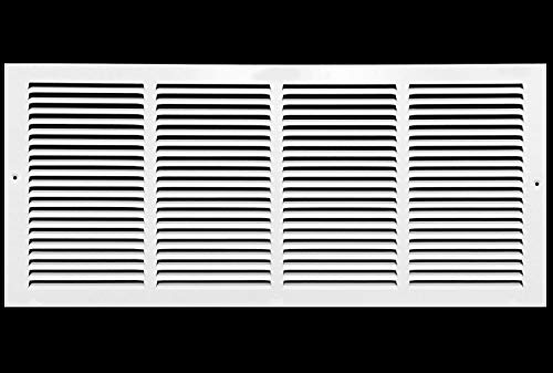 24'w X 10'h Steel Return Air Grilles - Sidewall and Ceiling - HVAC Duct Cover - White [Outer Dimensions: 25.75'w X 11.75'h]