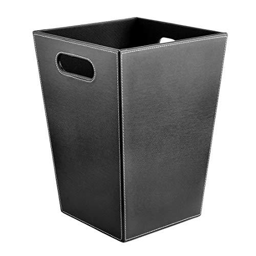 Poubelle- Poubelle en PU sans corbeille de rangement pour corbeille à papier pour le bureau (Color : Black)