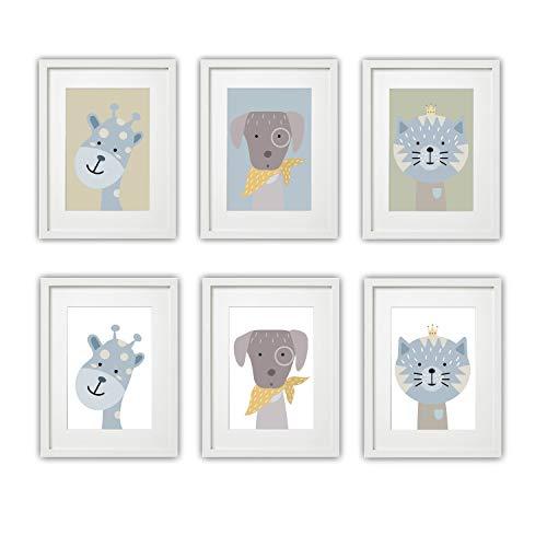 Kinderzimmer Bilder Set Babyzimmer Poster DIN A4 | für Mädchen & Jungen | Baby Tiere | farbig | Babyzimmer | Deko (#2 Giraffe Hund Katze)