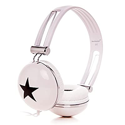 RockPapa Adjustable Stereo Star Kids Headphones Earphones, Over Ear, Headphone for Girls Boys Teens Childs Adults, Soft Earpad, Deep Bass for MP3 MP4 DVD iPod iPad iPhone Tablets Laptop TV White