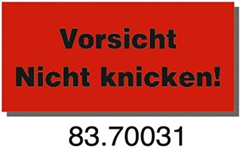Warn- und und und Hinweisetiketten, Abm (LxB)  145x70mm, aus Papier, 1000 Stück, rot, mit Aufdruck 'Vorsicht Nicht knicken B07CLFFRBW    | Das hochwertigste Material  9c890b