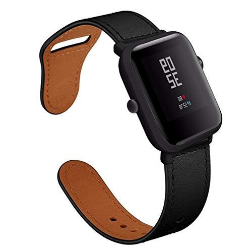 Fhony Correa Compatible with Apple Watch 38Mm 40Mm 42Mm 44Mm Correa de Cuero Genuino con Adaptadores de Metal Correa de Repuesto for Iwatch Series 6/5/4/3/2/1,Negro,38/40mm