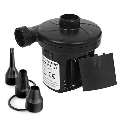 sanipoe Battery Powered Air Mattress Pump, Electric Quick-Fill Blower Portable Inflator Deflator for...