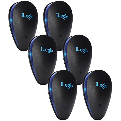 iLegio Ultrasonic Pest Repeller 6 Pack, Mice Repellent Plug Ins, Electronic Pest Repeller, Pest Reject, Get Rid of Mice, Rodent, Rat, Spider, Ant, Roach, Mosquito, Insect, Pets Safe, Black
