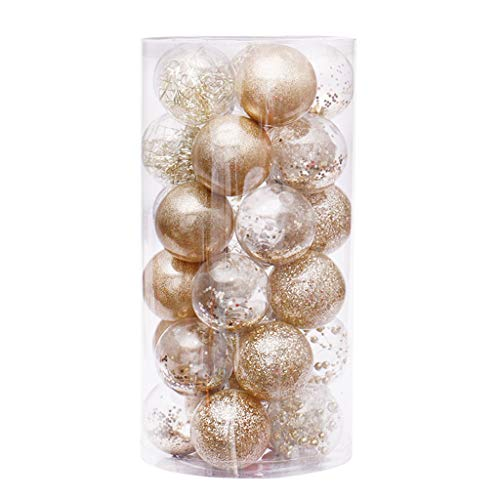 Fujiang 6cm/30 Pcs Christmas Balls Clear Plastic Ornaments Party Xmas Tree Hanging Decor