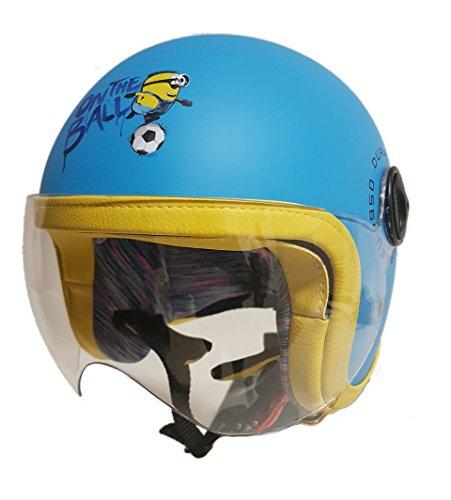 Zaleu - Casco de moto para niño Minions Goal, azul, talla S