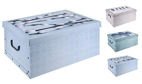 Spetebo 3er Set Aufbewahrungsbox in Natur Motiven mit jeweils 45 Liter Inhalt - Deko Box Aufbewahrung aus Karton