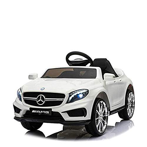 BAKAJI Auto Elettrica Bambini Mercedes AMG GLA 45 Coupe' 12V con Mp3 Ingresso USB (Bianco)
