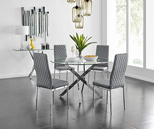 Novara Modern Stylish Large Round Chrome Metal And Clear Glass Dining Table And 4/6 Contemporary Milan Dining Chairs Set (Dining Table + Grey Milan Chairs, 4 Chairs)