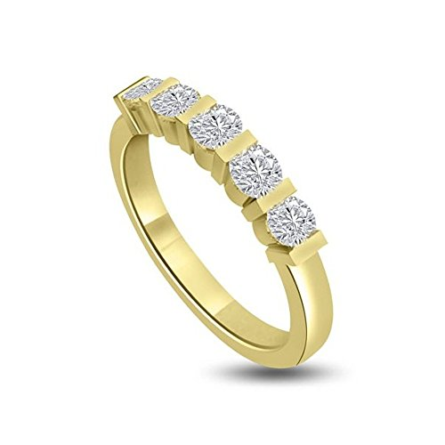 1.00ct H/SI1 Diamante Half Eternity Anello da Donna con Rotonda Brillante diamanti in 18kt Oro giallo