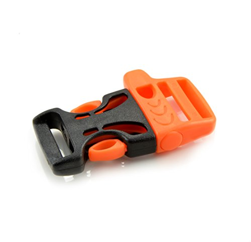 'Pack de 103/4Cierres de clip y cierre/Baender24-Produkt–Hebilla/ranuras/Cierre Rápido con silbato, de plástico para paracord, cuerda, etc., 54mm x 33mm), color: negro–naranja, tamaño L–Marca Ganzoo