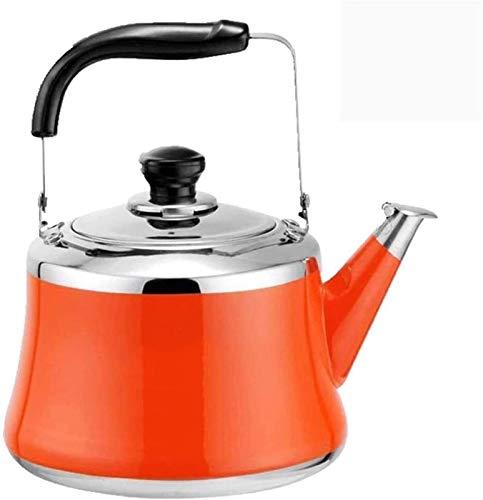 ASDFDG Estufa Top Tetera Alta Capacidad Espesa 304 Silbato de Acero Inoxidable Tetera de Gran Capacidad Cocina de inducción de Gases de Gas (Color : Orange)