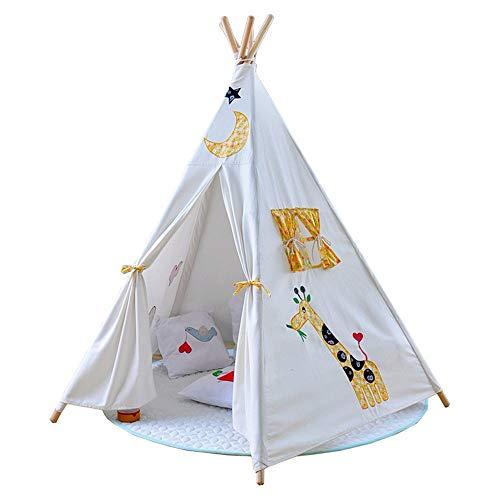 YIJIAHUI Tienda de campaña infantil con estampado de jirafa y flores, plegable, de algodón, con luna, bordado, para fotografía infantil, para niños y niñas, para interiores y exteriores