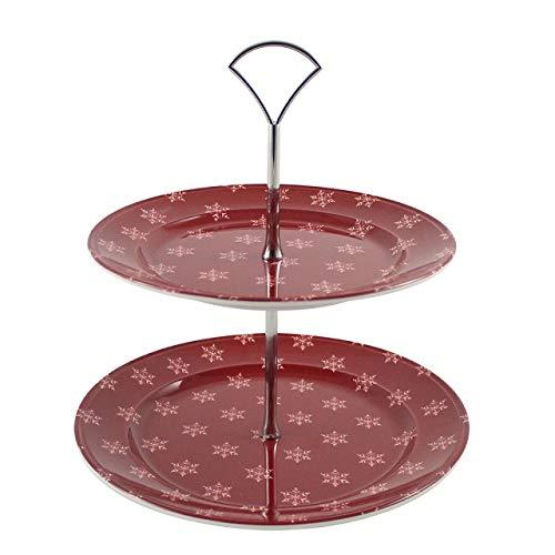 cartaffini – Présentoir à gâteaux à 2 étages Alpine, rouge – ø 24,5 cm – H 26 cm – Assiettes en Mélamine et structure en métal