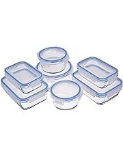 AmazonBasics Récipients en Verre avec clips de Fermeture pour Conservation Alimentaire, Lot de 14 Pièces (7 récipients + 7 couvercles), sans BPA