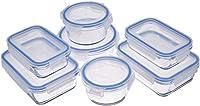 amazonbasics - contenitori per alimenti, in vetro, con coperchi, 14 pezzi (7 contenitori + 7 coperchi), senza bpa
