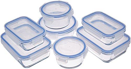 Amazon Basics Récipients en Verre avec clips de Fermeture pour Conservation Alimentaire, Lot de 14 Pièces (7 récipients + 7 couvercles), sans BPA