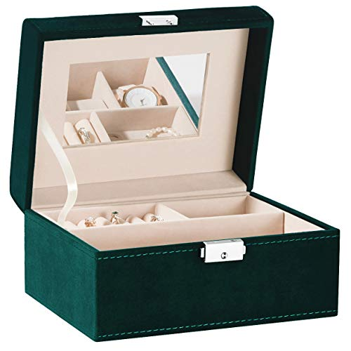 YOUDENOVA Jewelry Organizer Box, 4 Watch Box Jewelry Case 2 Layer Ring Earring Storage Organizer with Mirror for Women