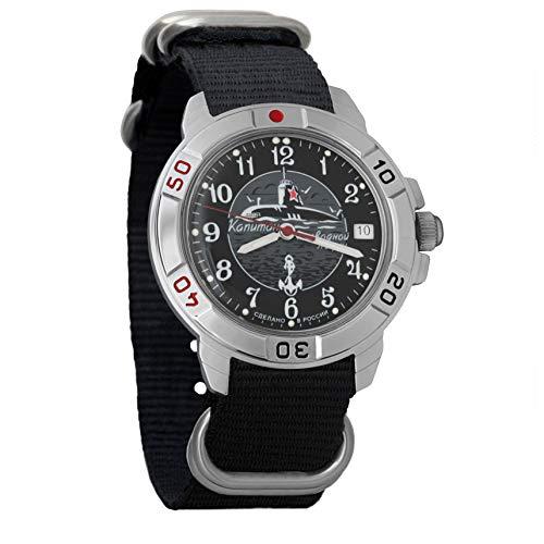 Vostok Komandirskie Classic Mens Mechanical Hand-Winding Military Wrist Watch #431831 (Black)