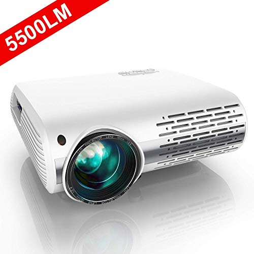 Projector, YABER 5500 Lumens 1080P HD LED Projector With 4D ±50° Electronic Keystone Correction (1920 x 1080) Support 4K 300' Home / Professional Projector For Iphone/Smartphone/PC/TV Box/Laptop/PS4