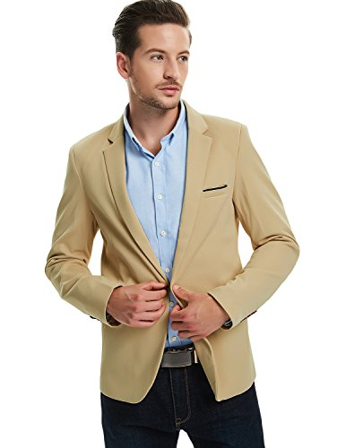Pishon Men's Slim Fit Suits Casual One Button Flap Pockets Solid Blazer Jacket, Khaki, Tagsize3XL=USsizeM