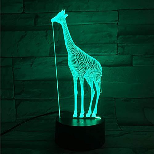 Giraffe 3D Optical Illusion Geschenk Nachtlichtlampe - 2 Funktionen 7 Farbe RGB Bunte USB-Aufladung oder AA-Batterie - Acryl-Kristallplatte Lustige 3D-dekorative Lichtlampe (Giraffe)