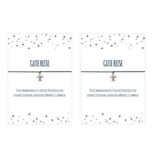 2er Set 2 x Glücks - Armband Gute Reise mit Flugzeug versilbert, elastischem Textilband in schwarz und liebevoller Karte