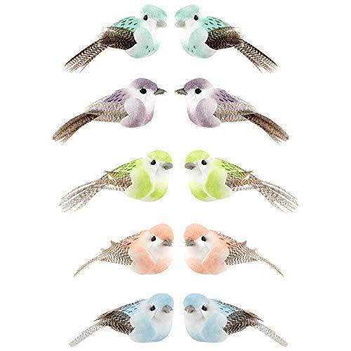 Uccelli decorativi, uccelli artificiali, 5 cm x 2,4 cm x 2,3 cm, 5 colori, 10 pezzi