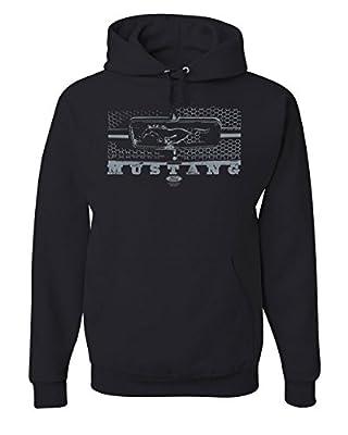 Ford Mustang Honeycomb Grille Hoodie Legendary American Muscle Sweatshirt Black XL