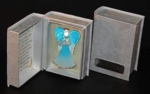 Geschenk zur Taufe, Schutzengel in Box mit Gedicht, Personalisierbar, Blau