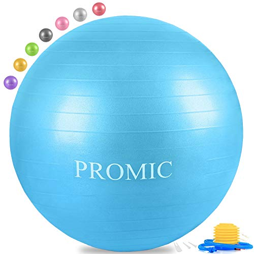 PROMIC Exercise Ball (45 cm) Children's Balance Ball with Foot Pump - Alternative Classroom Seating, Flexible School Chair, Active Classroom Desk Seating, Blue