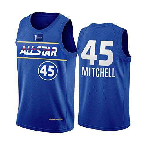 GHJK 2021 All-Star Basketball Jersey, Wlliamson1# Booker1# Davis3# Beal3# Durant7# Malla Fans Tops, Juego De Jugadores del Este Y Occidental Camisa De Baloncesto Par Mitchell45#-XXL
