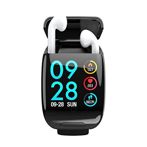 HJKPM Smartwatch Bluetooth Tapones 2 EN 1, Rastreador De Actividad De Reloj Inteligente con La Frecuencia del Ejercicio del Podómetro Y La Función De Monitoreo De La Presión Arterial,Negro
