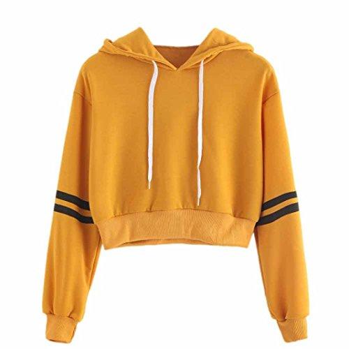 LONUPAZZ Sweat-Shirt Femme Court Striped Jumper Sweat à Capuche Drawstring Pull Crop Top (Asian S, Jaune)
