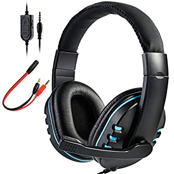 SOONHUA Xbox One,PS4 Gaming Headset with Mic,Over-Ear Noise Isolation Bass Gaming Headphones with Microphone Surround Sound,Volume Control Soft Memory Earmuffs for PC/Computers/Laptops/Phones