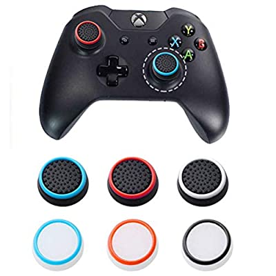 kuou 12 pcs Silicone Thumb Grip, Black Luminous Thumbstick Caps Cover Protect Cover for PS3, PS4, Xbox 360, Xbox One