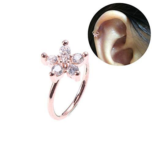 Fenical koper anti-allergie sneeuwvlok in de vorm van hoorn neus nagels ring bevestiging dames body piercing Jewlery (roodgoud)