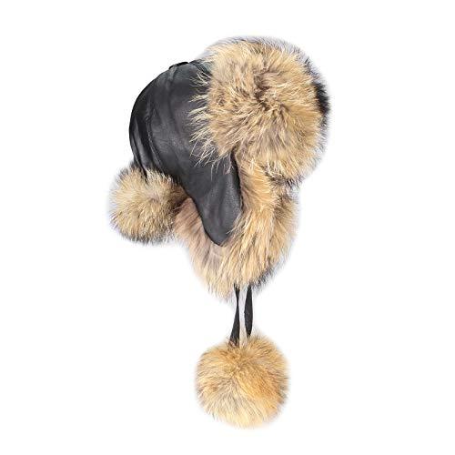 Bonnet pour homme raton laveur pelzmütze cuir bonnet d'hiver en fourrure de renard bonnet de ski étanche fox-chapka polarmütze russe tons bonnet en fo